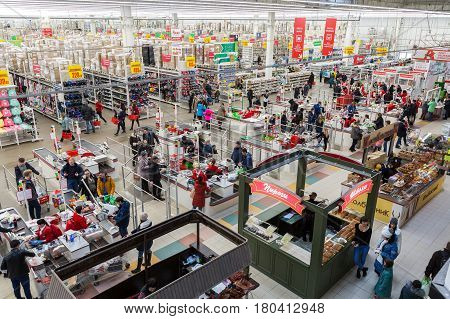 Samara Russia - April 1 2017: Auchan Samara Store in shopping center Kosmoport. French distribution network Auchan unites more than 1300 shops