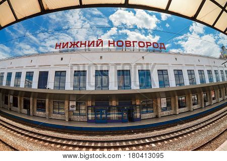 Nizhny Novgorod Russia - July 1 2012: View of the Moskovsky Rail Terminal Nizhny Novgorod Russia. The station was built in the 70s of XX century