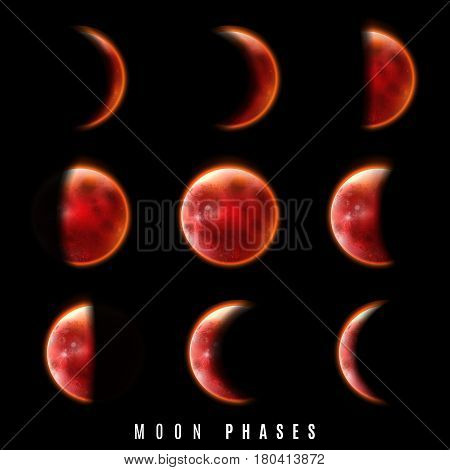 Realistic Phases of Moon on black background. Vector illustration