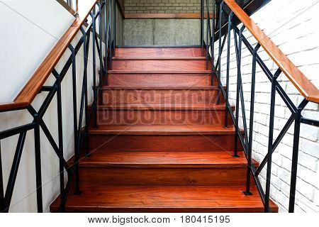 Wooden Stairs In The Coffee Shop, Interior Or Modern Concept