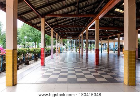 Colorful Of Columns Building Or Pillar Under Roof And Grid Pattern Floor, Structure Or Orderly Conce