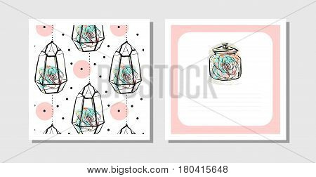 Hand drawn vector abstract creative unusual postcards or save the date cards template collection set with succulents in terrarium isolated on white background.Weddinganniversarybirthdayinvitations