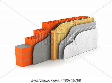 insulation of houses and walls.the scheme in cross section. 3D illustration