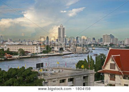 Bangkok River And Downtown