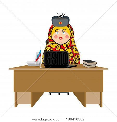 Russian Hacker. Matryoshka And Laptop. Ip Technology In Russia. Traditional Folk Toy In Fur Hat. Nes