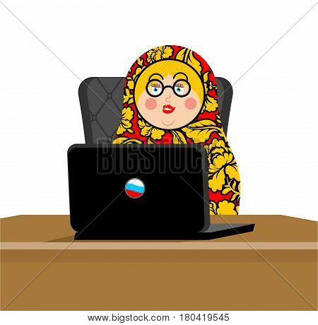 Russian Hacker. Matryoshka And Laptop. Ip Technology In Russia. Traditional Folk Toy. Nested Doll