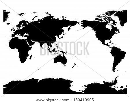 Australia and Pacific Ocean centered world map. High detail black silhouette on white background. Vector illustration.