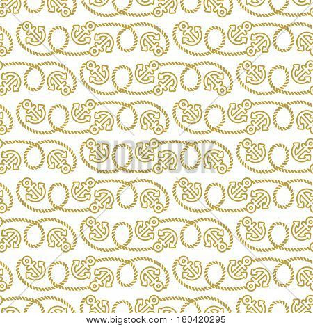 Seamless vector pattern marine theme. Anchors and ropes