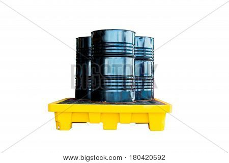 Metal barrel or oil container black Metal barrel or oil container on the yellow pallet.