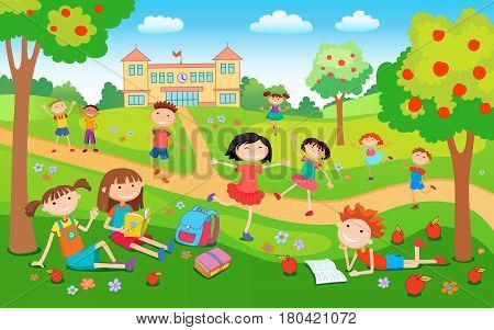 Children playing on the grass in the park before school schoolchildren happy jumping and studying vector illustration