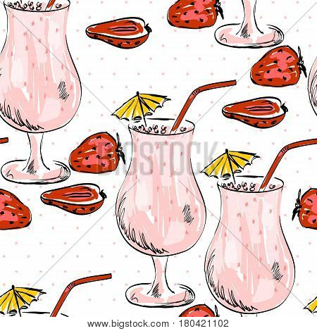 Illustration with hand drawn summer Strawberry cocktail. Seamless pattern