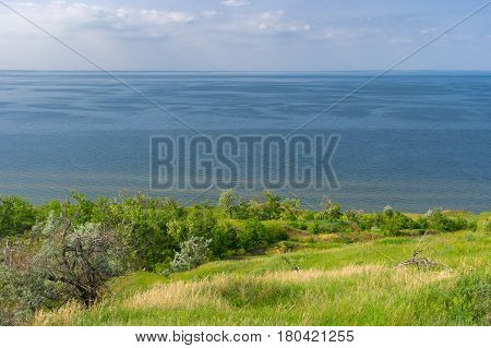 Summer landscape with Kakhovka Reservoir located on the Dnepr River Ukraine