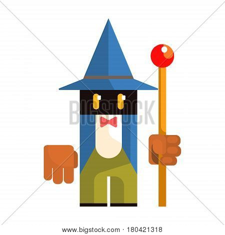 Cute cartoon garden gnome. Fairy tale, fantastic, magical colorful character isolated on a white background