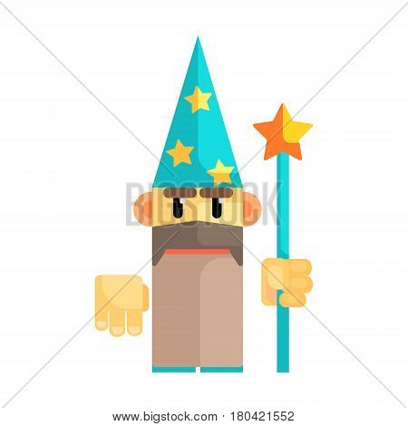 Gnome wizard in blue hat with stars and staff in his hands. Fairy tale, fantastic, magical colorful cartoon character isolated on a white background