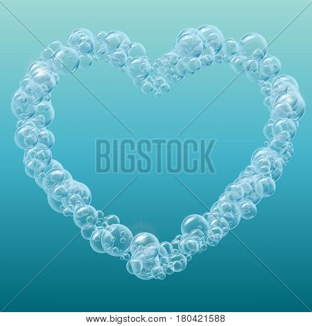 Heart of cleaning foam or shampoo bubbles. Template for web site background, flyer, banner. Good for aqua park, swimming pool, diving club design. Deep sea with bubbles and sprays underwater.