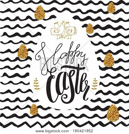 Decorative cute doodle background Easter Day with wishful hand drawn lettering