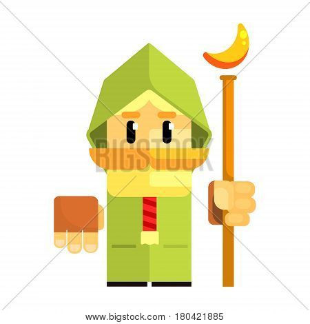 Cartoon dwarf in a green cape with staff in his hands. Fairy tale, fantastic, magical colorful character isolated on a white background