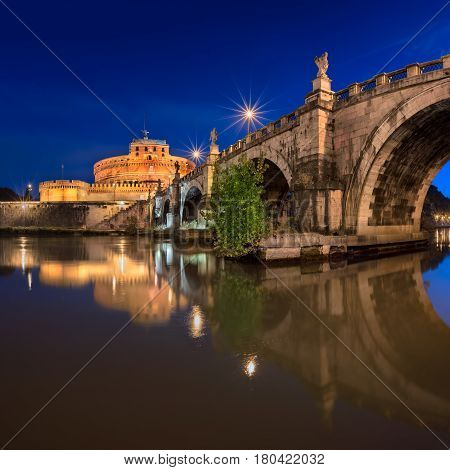 Ponte Sant'Angelo and Castel Sant'Angelo in the Morning Rome Italy