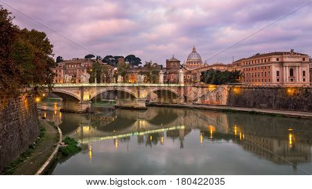 Saint Peter's Cathedral and Vittorio Emmanuele II Bridge in the Morning Rome Italy