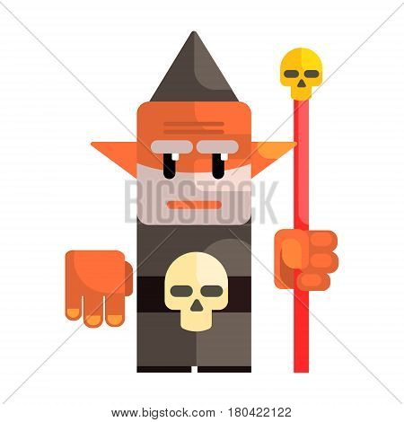 Cartoon dwarf holding a staff with a skull. Fairy tale, fantastic, magical colorful character isolated on a white background