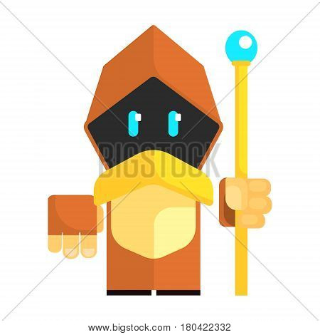 Cartoon gnome in a cape with glowing eyes holding staff in his hands. Fairy tale, fantastic, magical colorful character isolated on a white background