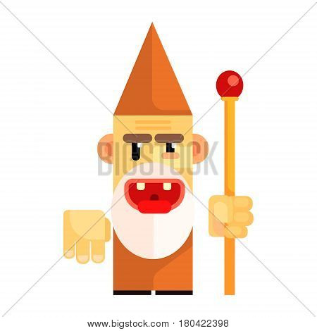 Cartoon angry dwarf holding staff in his hands. Fairy tale, fantastic, magical colorful character isolated on a white background