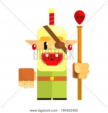 Cheerful cartoon gnome pirate. Fairy tale, fantastic, magical colorful character isolated on a white background