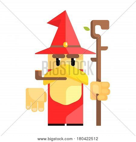 Cartoon garden gnome with smoking pipe. Fairy tale, fantastic, magical colorful character isolated on a white background