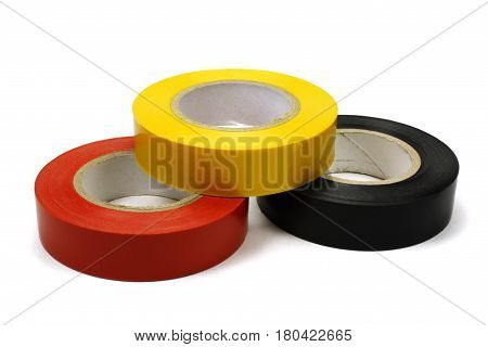 Set of colored insulating tape for the electrical on a white background