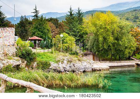 The Bay of the Bones park area at Lake Ohrid, Republic of Macedonia
