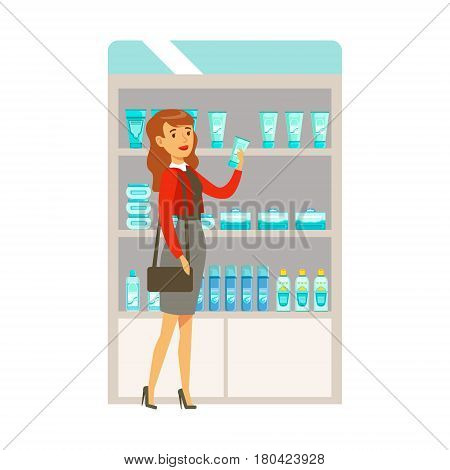 Woman In Red Top In Pharmacy Choosing And Buying Drugs And Cosmetics, Part Of Set Of Drugstore Scenes With Pharmacists And Clients. Vector Cartoon Illustration With Cute Character Shopping For Medicines And Medical Supplies.