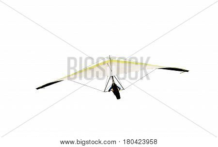 hang glider in gliding flight ,isolated on white background