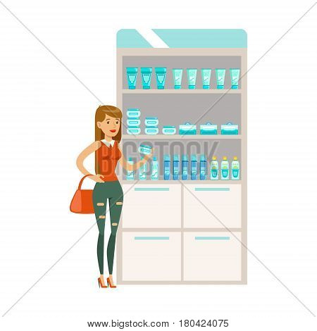 Young Girl In Pharmacy Choosing And Buying Drugs And Cosmetics, Part Of Set Of Drugstore Scenes With Pharmacists And Clients. Vector Cartoon Illustration With Cute Character Shopping For Medicines And Medical Supplies.