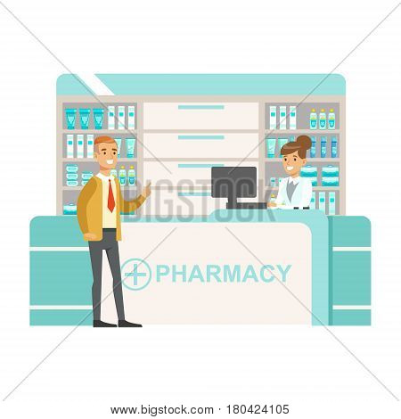 Man In Tie And Cardigan In Pharmacy Choosing And Buying Drugs And Cosmetics, Part Of Set Of Drugstore Scenes With Pharmacists And Clients. Vector Cartoon Illustration With Cute Character Shopping For Medicines And Medical Supplies.