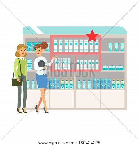 Woman In Pharmacy Choosing And Buying Drugs And Cosmetics On Promotion, Part Of Set Of Drugstore Scenes With Pharmacists And Clients. Vector Cartoon Illustration With Cute Character Shopping For Medicines And Medical Supplies.