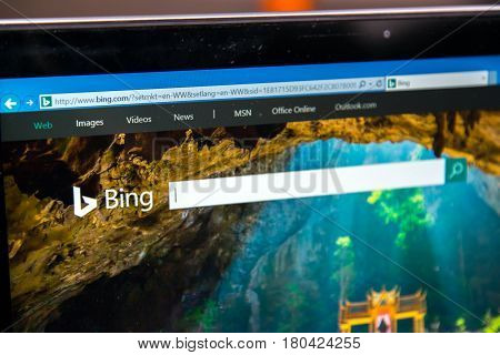 Nitra, Slovakia, april 7, 2017: Bing Homepage on laptop screen