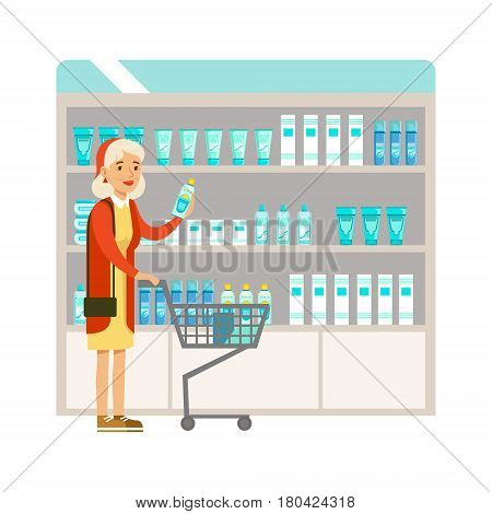 Old Lady In Pharmacy Choosing And Buying Drugs And Cosmetics, Part Of Set Of Drugstore Scenes With Pharmacists And Clients. Vector Cartoon Illustration With Cute Character Shopping For Medicines And Medical Supplies.