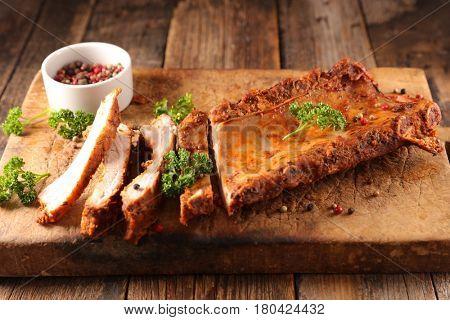 rib pork on wood board