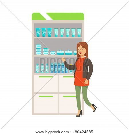 Woman In Red Sweater In Pharmacy Choosing And Buying Drugs And Cosmetics, Part Of Set Of Drugstore Scenes With Pharmacists And Clients. Vector Cartoon Illustration With Cute Character Shopping For Medicines And Medical Supplies.