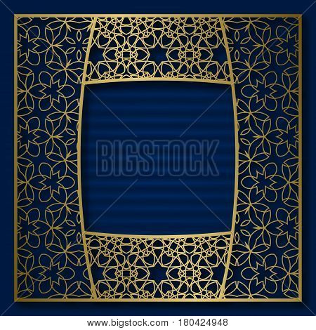 Golden cover background with traditional patterned frame in convex square form.
