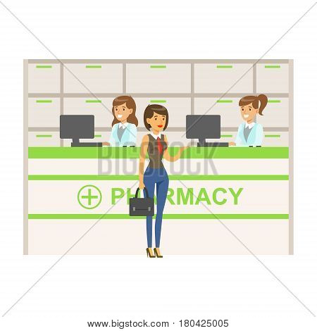 Woman In Vest And Tie In Pharmacy Choosing And Buying Drugs And Cosmetics, Part Of Set Of Drugstore Scenes With Pharmacists And Clients. Vector Cartoon Illustration With Cute Character Shopping For Medicines And Medical Supplies.