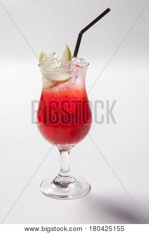 Cold Straw Red Drink With Berry, Apple And Mint Leaf.