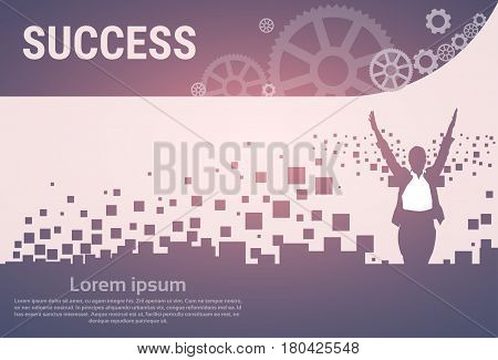 Business Woman Silhouette Excited Raised Hands Banner Vector Illustration