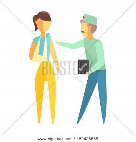 Doctor holding roentgen image and helping a woman with a broken arm. Medical care concept. Colorful cartoon characters isolated on a white background