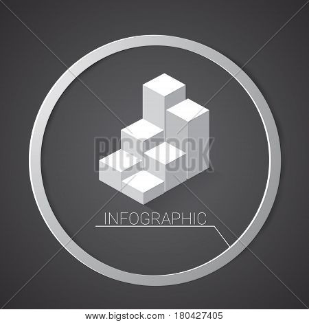 Graph Finance Bar Infographic Icon Financial Business Chart Flat Vector Illustration
