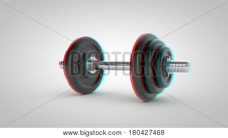 Stereoscopic Dumbbell Isolated On White Background