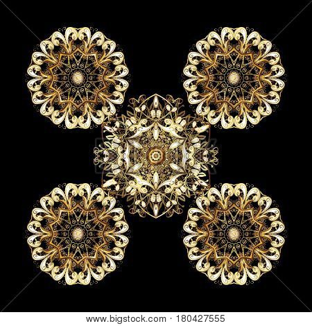 Snowflakes pattern. Vector snowflakes background. Golden snowflake. Flat design with abstract snowflakes isolated on black background.