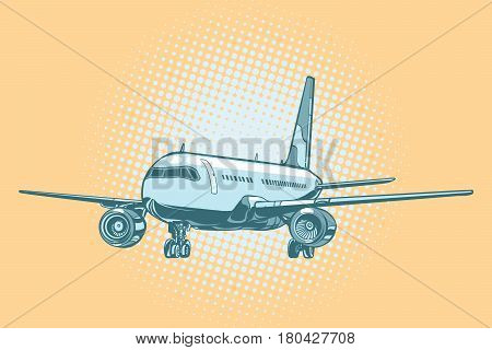 Landing of a passenger plane. Pop art retro vector illustration