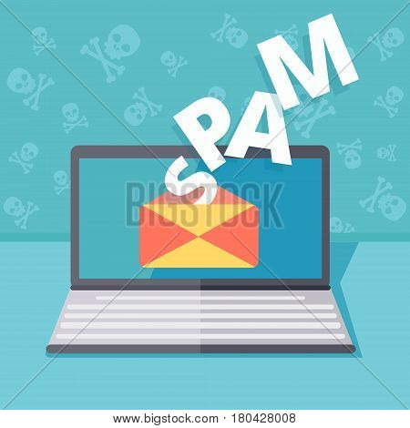 Email spamming or phishing security vector concept illustration. Hacking by email spoofing or instant messaging. Online computer virus threat and safety. Unsecured server fraud or attack.
