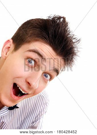 Cheerful and Surprised Young Man Isolated on the White Background